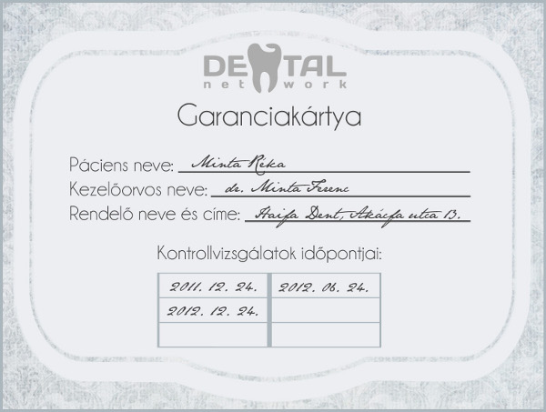 fogpótlás garanciakártya